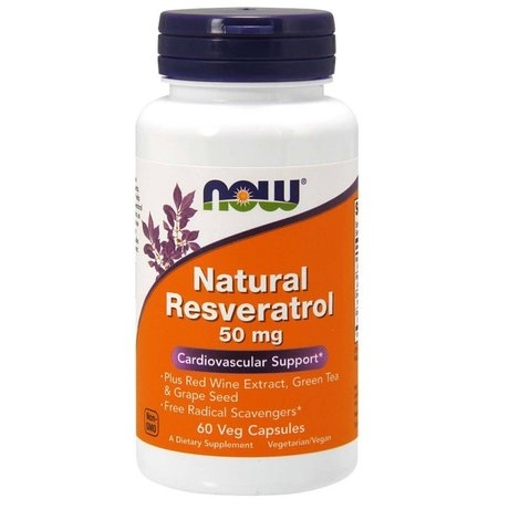 NOW Foods Natural Resveratrol 50mg | Ресвератрол, 60 капсули