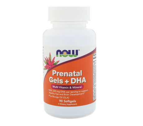 NOW Foods Prenatal+DHA | Витамини за Бременни, 90 дражета
