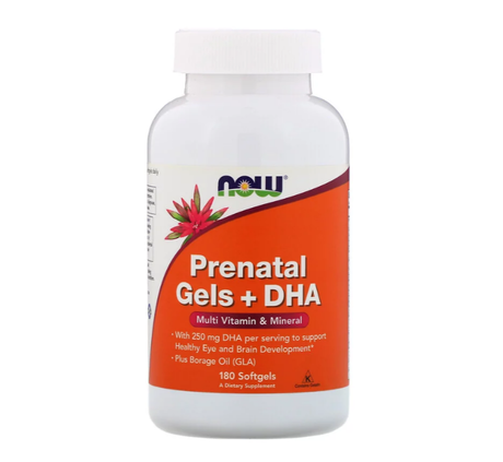 NOW Foods Prenatal+DHA | Витамини за Бременни, 180 дражета