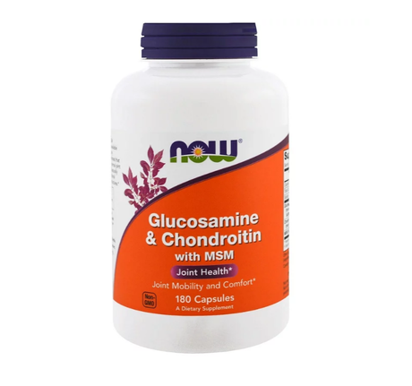 NOW Foods Glucosamine & Chondroitin with MSM | Глюкозамин и Хондроитин с МСМ, 180 капсули
