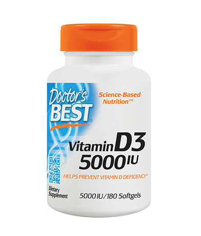Doctor's Best Vitamin D3 5000IU | Витамин Д3, 180 дражета