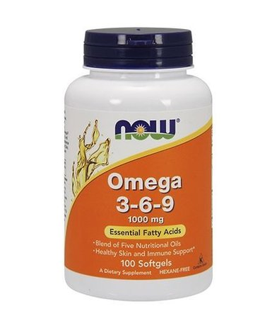 Now Foods Omega 3-6-9 | Омега 3-6-9 1000мг, 100 дражета