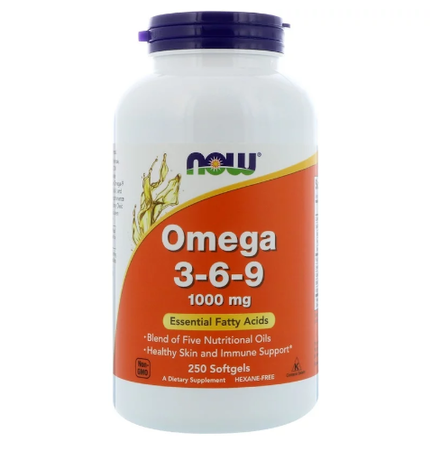 Now Foods, Omega 3-6-9 | Омега 3-6-9 1000мг, 250 дражета