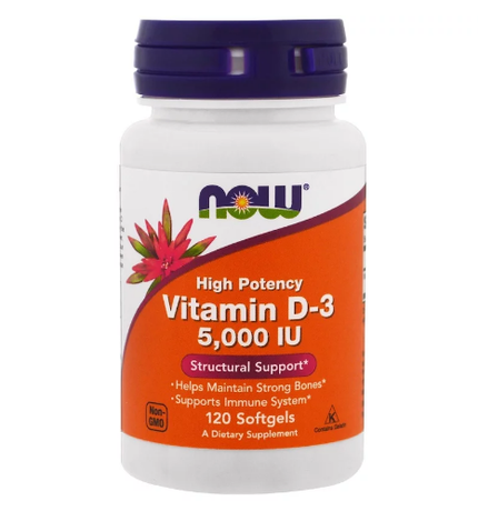 Now Foods Vitamin D3 5000 IU | Витамин Д3 5000 IU, 120 дражета