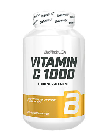 BioTech USA Vitamin C1000 | Витамин Ц + Шипка и Бъз, 250 таблетки