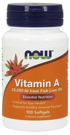 NOW Foods Vitamin A 25000IU | Витамин А, 100 дражета