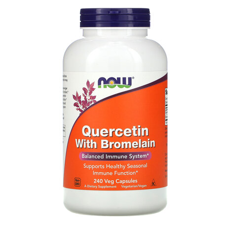 NOW Foods Quercetin with Bromelain | Кверцетин с бромелаин, 240 вег. капсули