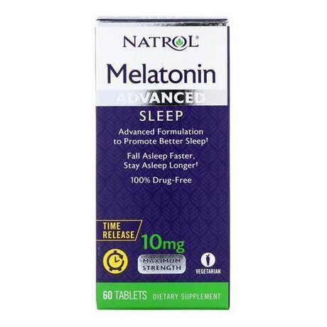 Natrol Advanced Sleep Melatonin 10mg | Мелатонин, 60 таблетки