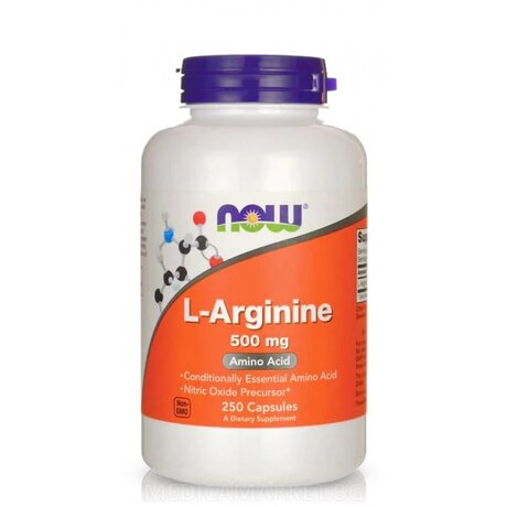 NOW Foods l-Arginine 500mg | Аргинин, 250 капсули