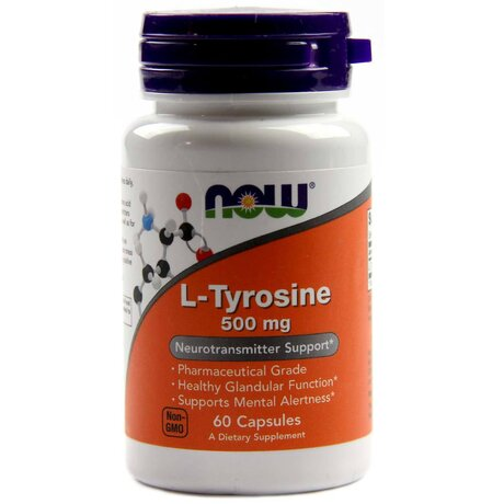 NOW Foods l-Tyrosine 500mg | Тирозин, 60 капсули