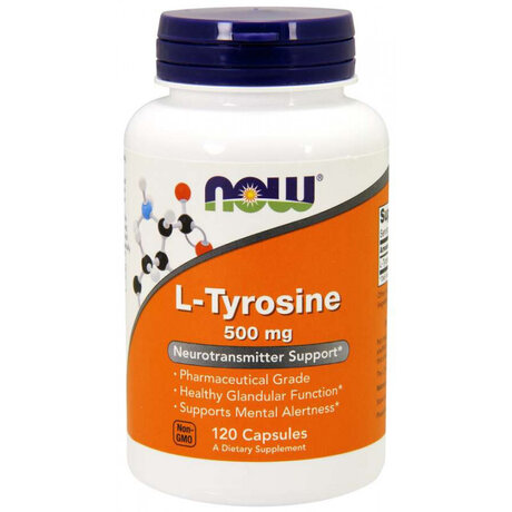 NOW Foods l-Tyrosine 500mg | Тирозин, 120 капсули