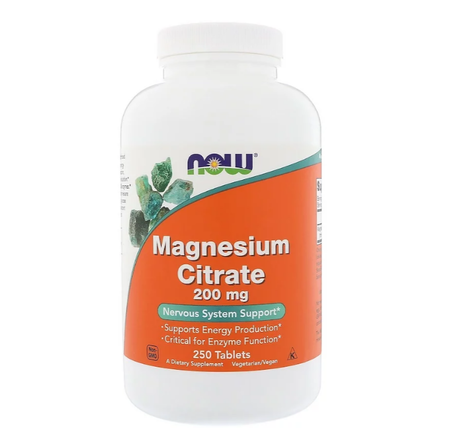NOW Foods Magnesium Citrate | Магнезий 200mg, 250 таблетки