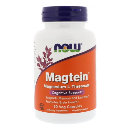 NOW Foods Magtein Magnesium L-Threonate | Магнезий, 90 вег. капсули