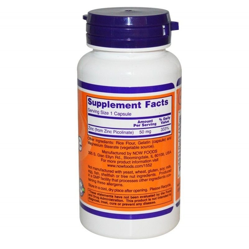 Now Foods, Zinc Picolinate | Цинк Пиколинат 50мг, 120 капсули
