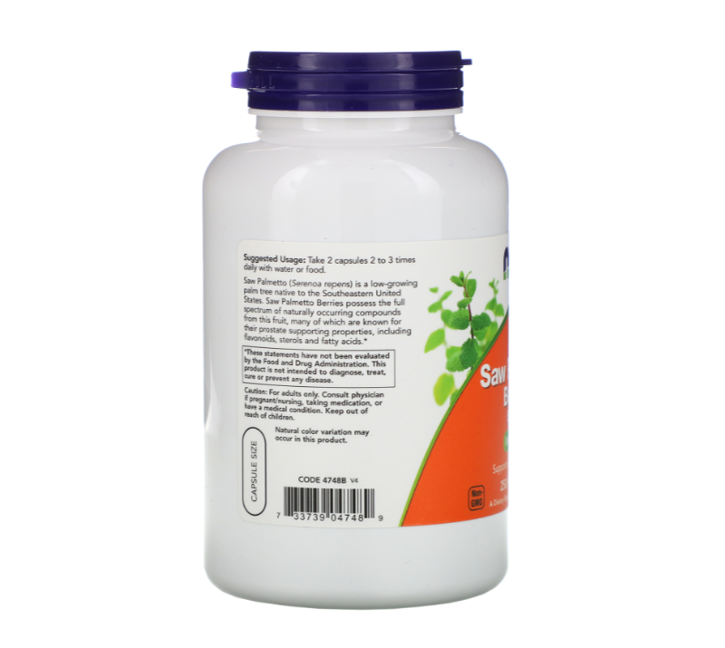 NOW Foods Saw Palmetto Berries 550mg | Сау Палмето, 250 капсули