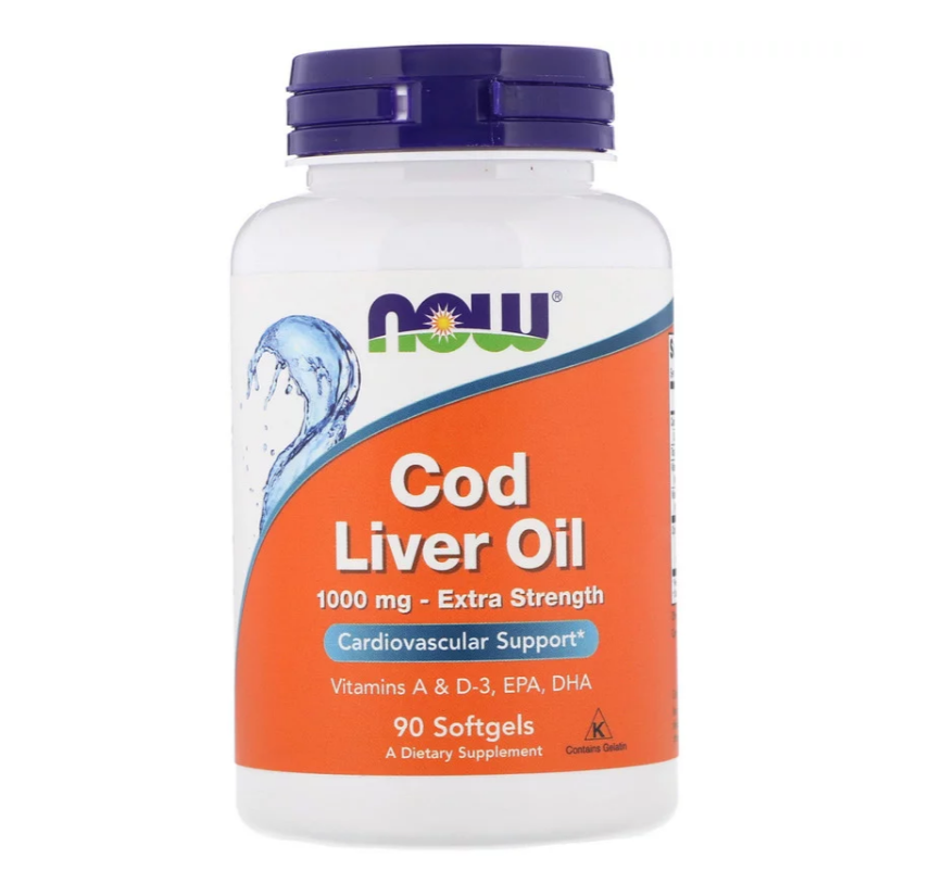 NOW Foods Cod Liver Oil 1000mg Extra Strength | Масло от дроб на треска, 90 дражета